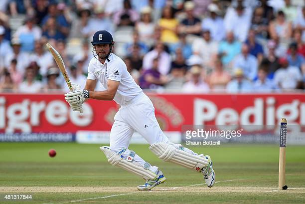 Alastair Cook of England plays a shot during day four of the 2nd Investec Ashes Test match between England and Australia at Lord's Cricket Ground on...