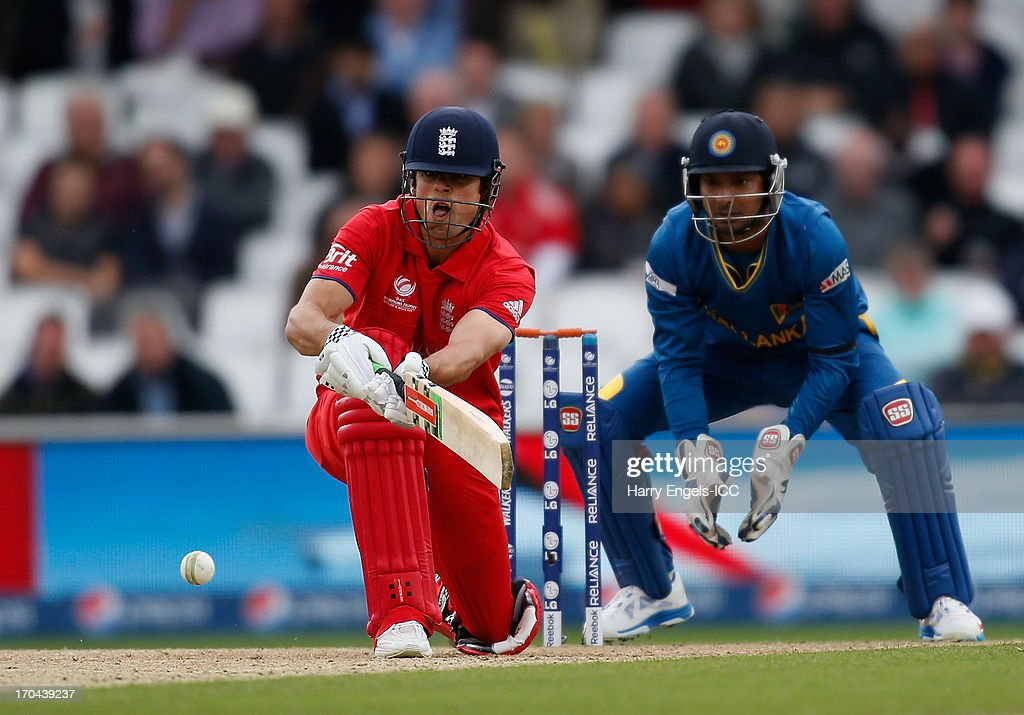 Alastair Cook of England plays a sweep shot during the ICC Champions Trophy group A match between England and Sri Lanka at The Kia Oval on June 13, 2013 in London, England.