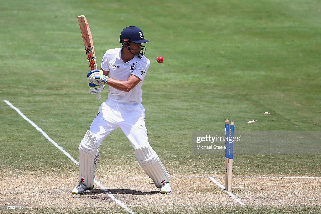 Alastair Cook of England plays on and is bowled by Shannon Gabriel of West Indies during day three of the 2nd Test match between West Indies and England at the National Cricket Stadium in St George's on April 23, 2015 in Grenada, Grenada.