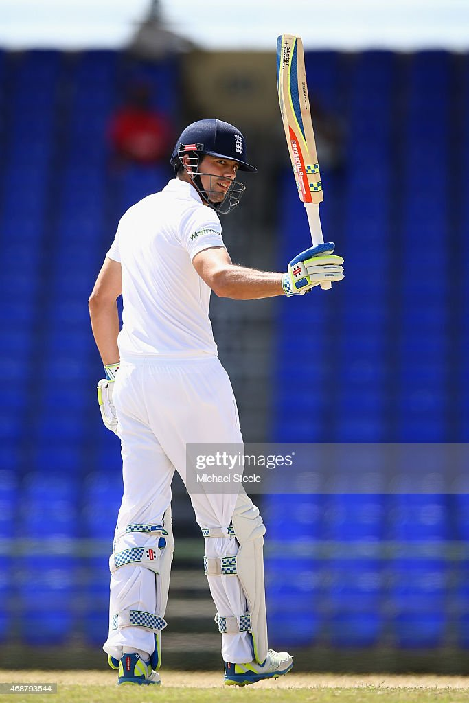 <a gi-track='captionPersonalityLinkClicked' href=/galleries/search?phrase=Alastair+Cook+-+Cricket+Player&family=editorial&specificpeople=571475 ng-click='$event.stopPropagation()'>Alastair Cook</a> of England raises his bat after reaching his century during day two of the St Kitts and Nevis Invitational XI versus England tour match on April 7, 2015 in Basseterre, St Kitts, Saint Kitts and Nevis.