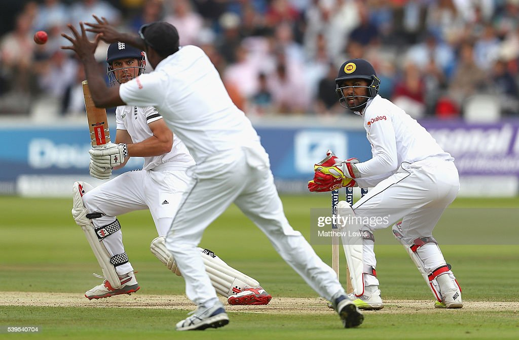 <a gi-track='captionPersonalityLinkClicked' href=/galleries/search?phrase=Alastair+Cook+-+Cricket+Player&family=editorial&specificpeople=571475 ng-click='$event.stopPropagation()'>Alastair Cook</a> of England reverse sweeps the ball towards <a gi-track='captionPersonalityLinkClicked' href=/galleries/search?phrase=Angelo+Mathews&family=editorial&specificpeople=5622021 ng-click='$event.stopPropagation()'>Angelo Mathews</a> of Sri Lanka, as <a gi-track='captionPersonalityLinkClicked' href=/galleries/search?phrase=Dinesh+Chandimal&family=editorial&specificpeople=4884949 ng-click='$event.stopPropagation()'>Dinesh Chandimal</a> looks on during day four of the 3rd Investec Test match between England and Sri Lanka at Lord's Cricket Ground on June 12, 2016 in London, United Kingdom.