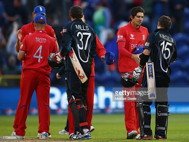 Alastair Cook of England shakes hands with Nathan McCullum of New Zealand after his teams victory during the ICC Champions Trophy Group A match...