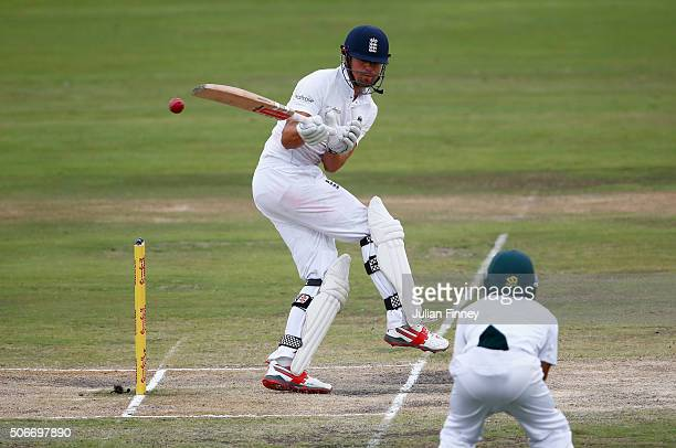 Alastair Cook of England tries to play a shot during day four of the 4th Test at Supersport Park on January 25 2016 in Centurion South Africa