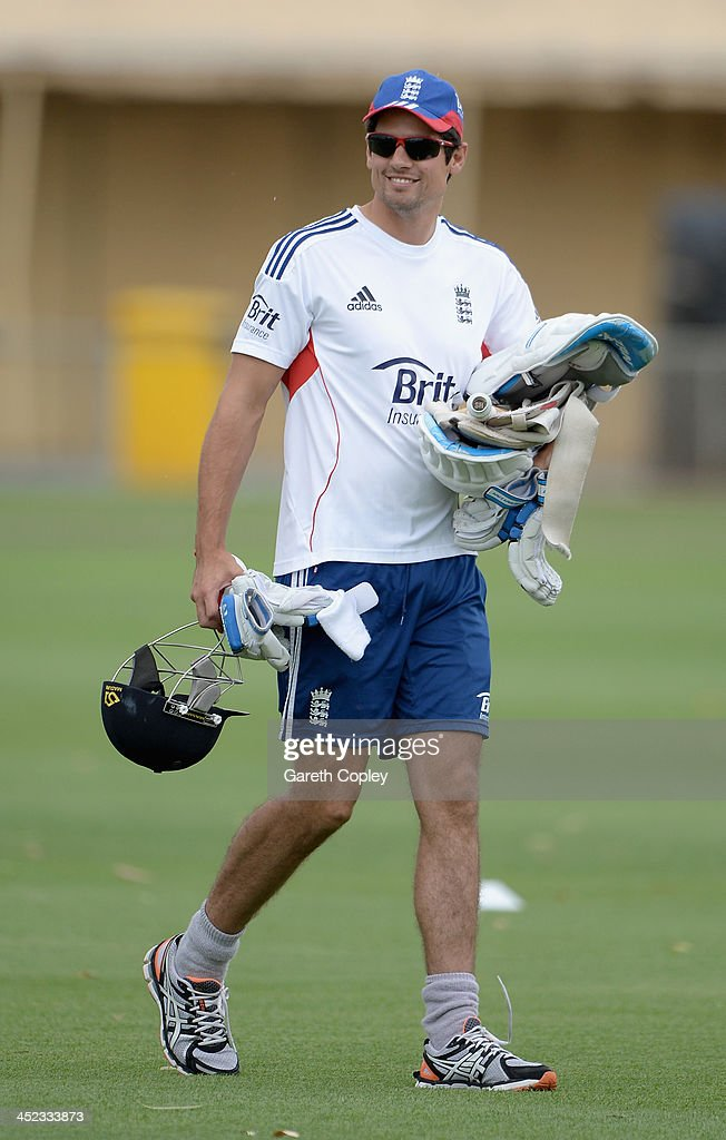 <a gi-track='captionPersonalityLinkClicked' href=/galleries/search?phrase=Alastair+Cook+-+Cricket+Player&family=editorial&specificpeople=571475 ng-click='$event.stopPropagation()'>Alastair Cook</a> of England walks from the nets during a nets session at Traeger Park on November 28, 2013 in Alice Springs, Australia.