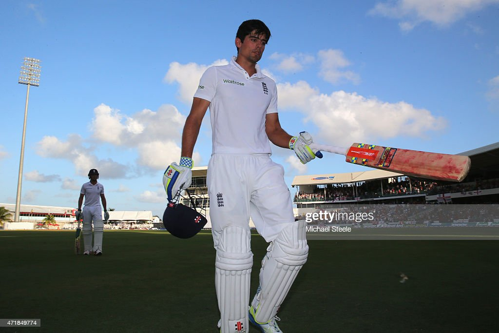 <a gi-track='captionPersonalityLinkClicked' href=/galleries/search?phrase=Alastair+Cook+-+Cricket+Player&family=editorial&specificpeople=571475 ng-click='$event.stopPropagation()'>Alastair Cook</a> of England walks off after scoring 105 runs after being caught behind by Denesh Ramdin off the bowling of <a gi-track='captionPersonalityLinkClicked' href=/galleries/search?phrase=Marlon+Samuels&family=editorial&specificpeople=185235 ng-click='$event.stopPropagation()'>Marlon Samuels</a> of West Indies during day one of the 3rd Test match between West Indies and England at Kensington Oval on May 1, 2015 in Bridgetown, Barbados.