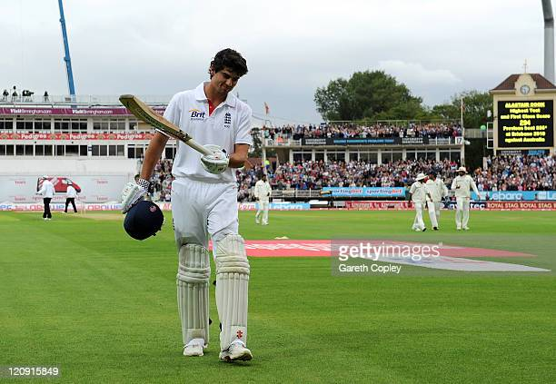 Alastair Cook of England walks off after scoring 294 runs at the end of England's 1st innings during day three of the 3rd npower Test at Edgbaston on...