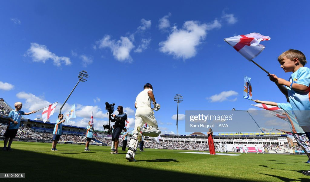 Alastair Cook of England walks out to bat during day one of the 1st Investec Test match between England and West Indies at Edgbaston on August 17, 2017 in Birmingham, England.