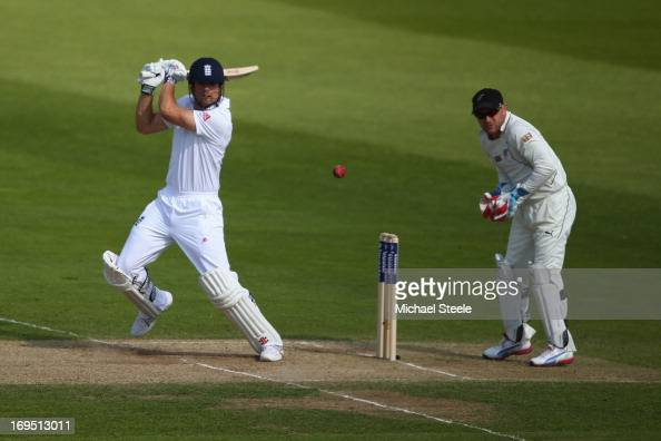 Alastair Cook of Englandhits to the offside as wicketkeeper Brendon McCullum of New Zealand looks on during day three of the 2nd Investec Test match...