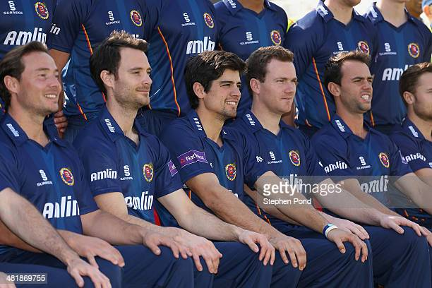 Alastair Cook of Essex and his team mates during the Essex County Cricket Club Photocall at the County Ground on April 1 2014 in Chelmsford England