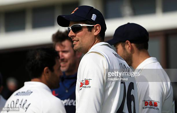 Alastair Cook of Essex and team mates leave the pavilion to field ahead of day one of the Specsavers County Championship match between Essex and...