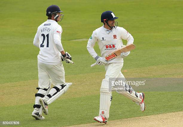Alastair Cook of Essex and Tom Westley increase their runs total during day two of the Specsavers County Championship match between Essex and...