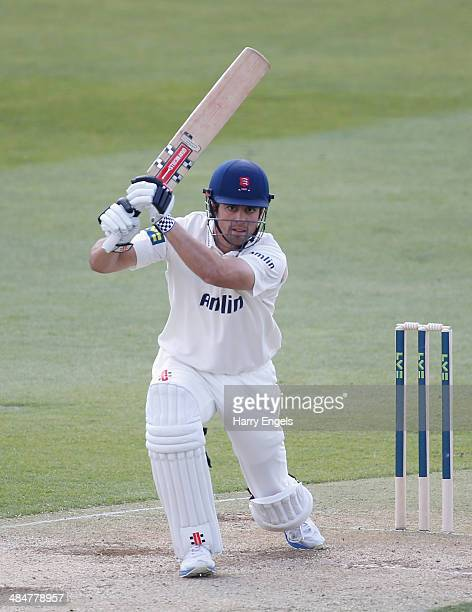 Alastair Cook of Essex bats during day two of the LV County Championship Division Two match between Essex and Derbyshire at the Ford County Ground on...
