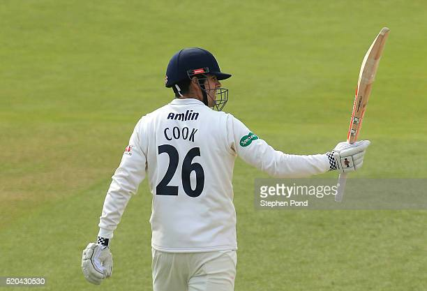 Alastair Cook of Essex celebrates reaching 50 runs day two of the Specsavers County Championship match between Essex and Gloucestershire at the Ford...
