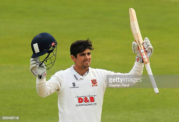 Alastair Cook of Essex celebrates reaching a century of runs during day two of the Specsavers County Championship match between Essex and...