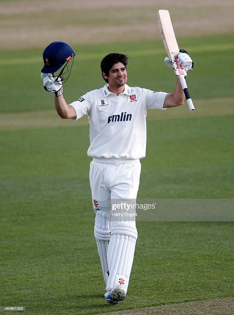 <a gi-track='captionPersonalityLinkClicked' href=/galleries/search?phrase=Alastair+Cook+-+Cricket+Player&family=editorial&specificpeople=571475 ng-click='$event.stopPropagation()'>Alastair Cook</a> of Essex celebrates reaching his century during day two of the LV County Championship Division Two match between Essex and Derbyshire at the Ford County Ground on April 14, 2014 in Chelmsford, England.