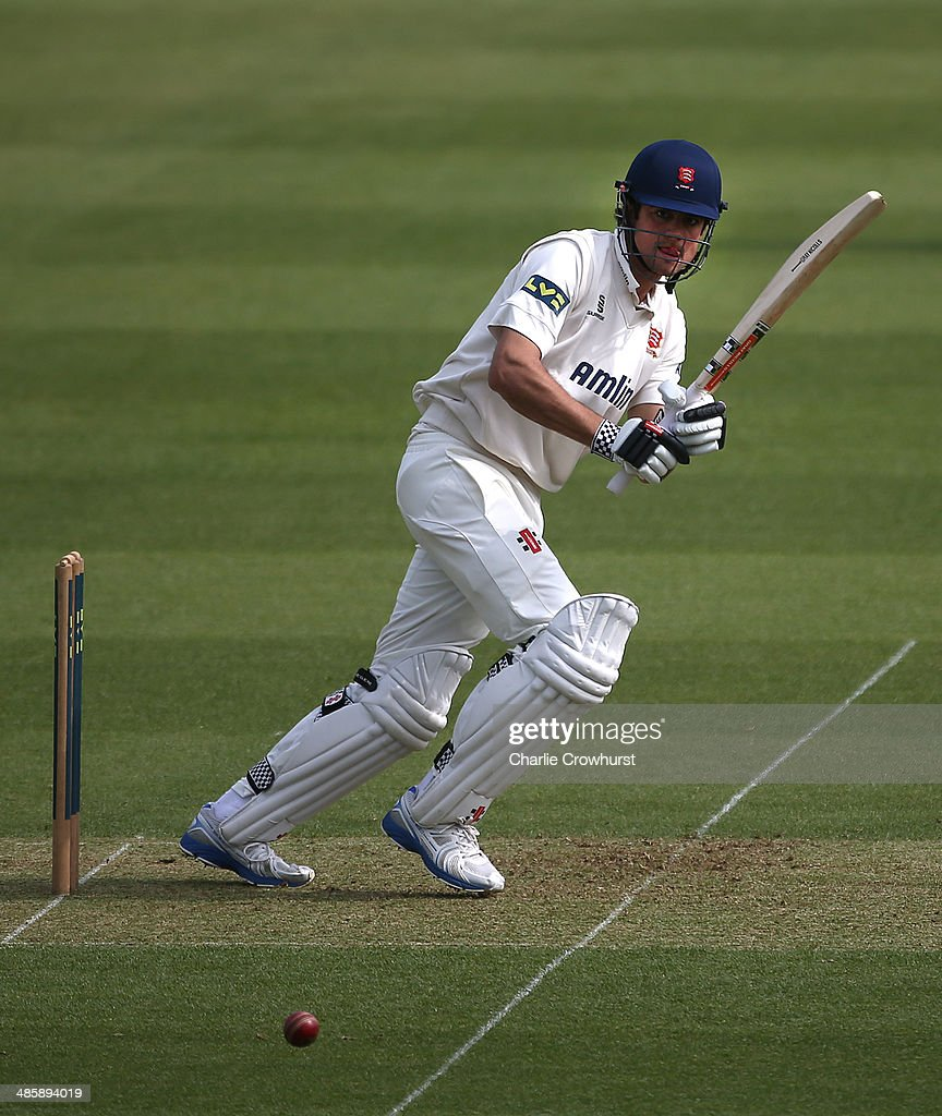 Alastair Cook of Essex keeps an eye on his shot during day two of the LV County Championship match between Surrey and Essex at The Kia Oval Cricket...