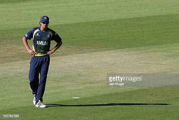 Alastair Cook of Essex looks on during the Friends Provident T20 match between Kent and Essex at The Brit Oval on July 9 2010 in London England