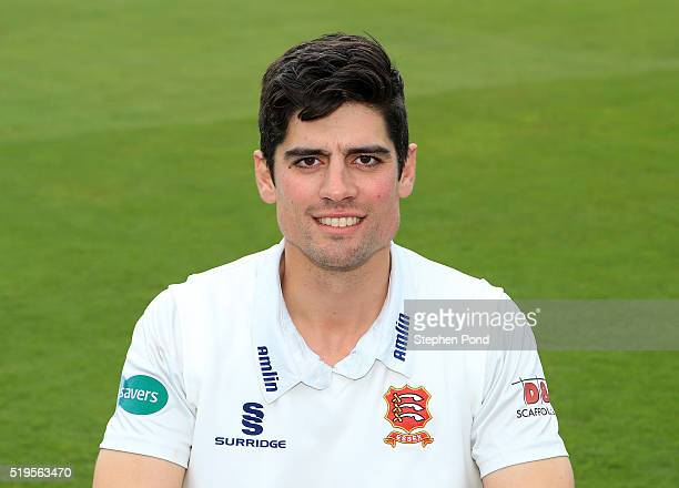 Alastair Cook of Essex poses for a photo during the Essex County Cricket Club media day at The County Ground on April 7 2016 in Chelmsford England