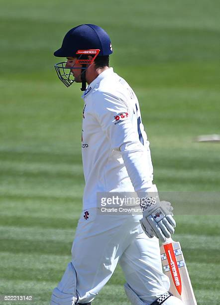 Alastair Cook of Essex sports his new helmet during day two of the Specsavers County Championship Division Two match between Sussex and Essex at The...