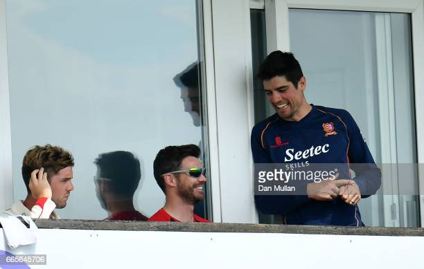 Alastair Cook of Essex talks with England team mate James Anderson of Lancashire during day one of the Specsavers County Championship Division One...
