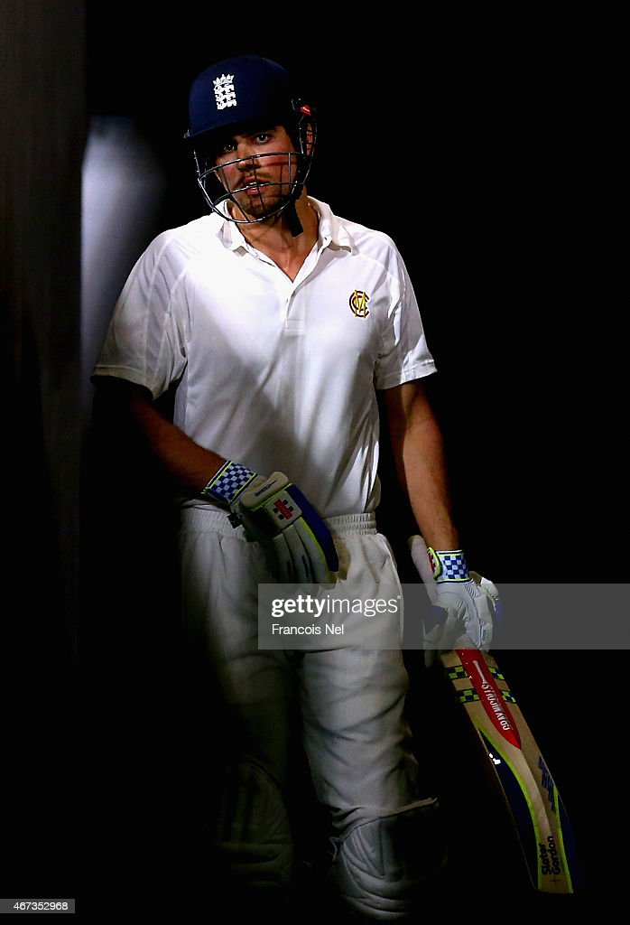 Alastair Cook of Marylebone Cricket Club prepares to bat during day two of the Champion County match between Marylebone Cricket Club and Yorkshire at Sheikh Zayed Stadium on March 23, 2015 in Abu Dhabi, United Arab Emirates.
