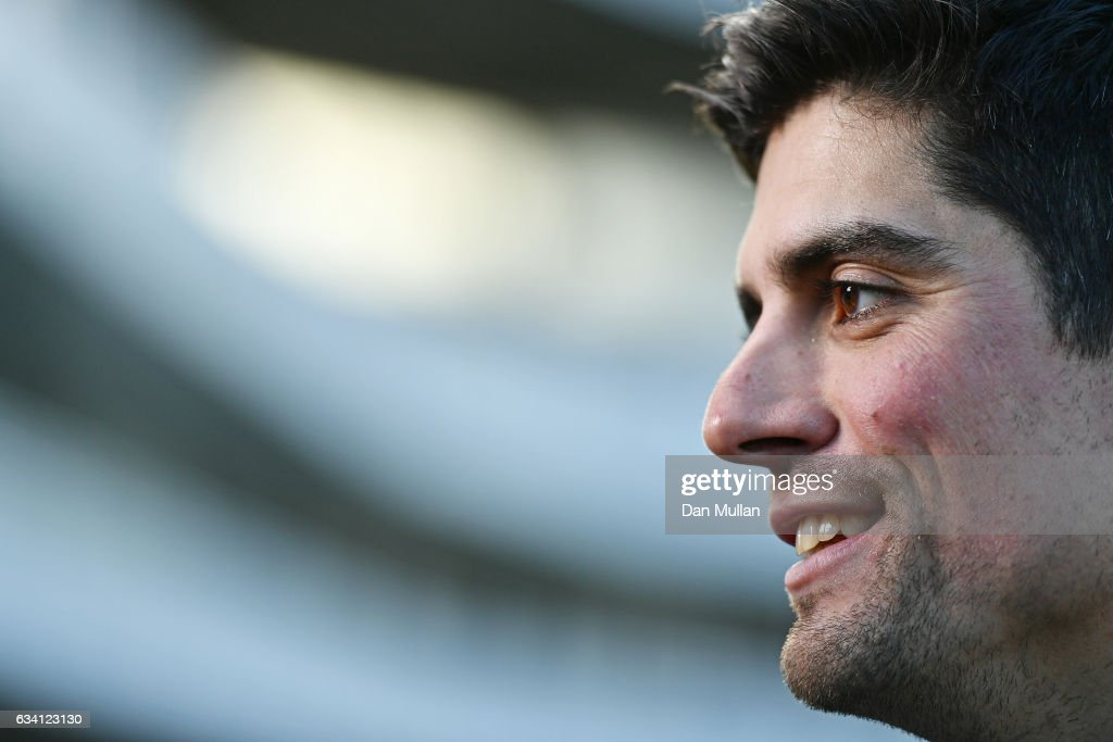 Alastair Cook speaks to the media after stepping down as England Captain at Lord's Cricket Ground on February 7, 2017 in London, England.