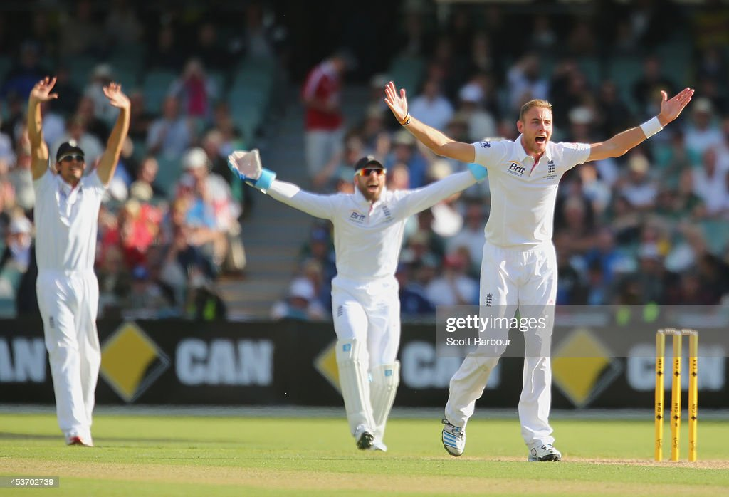 Alastair Cook, Stuart Broad and Matt Prior of England appeal unsuccessfully for LBW against Brad Haddin of Australia during day one of the Second Ashes Test Match between Australia and England at Adelaide Oval on December 5, 2013 in Adelaide, Australia.