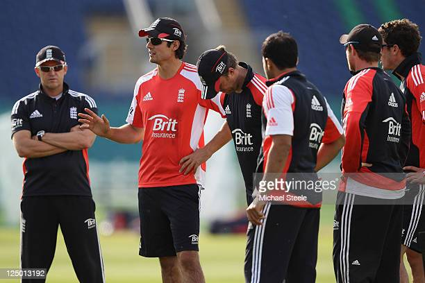 Alastair Cook the England captain addresses his team alongside coach Andy Flower during the England nets session at SWALEC Stadium on September 15...