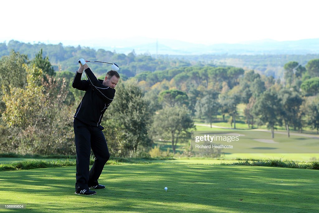 <a gi-track='captionPersonalityLinkClicked' href=/galleries/search?phrase=Alastair+Forsyth&family=editorial&specificpeople=211462 ng-click='$event.stopPropagation()'>Alastair Forsyth</a> of Scotland in action during the first round of the European Tour Qualifying School Finals at PGA Catalunya Resort on November 24, 2012 in Girona, Spain.
