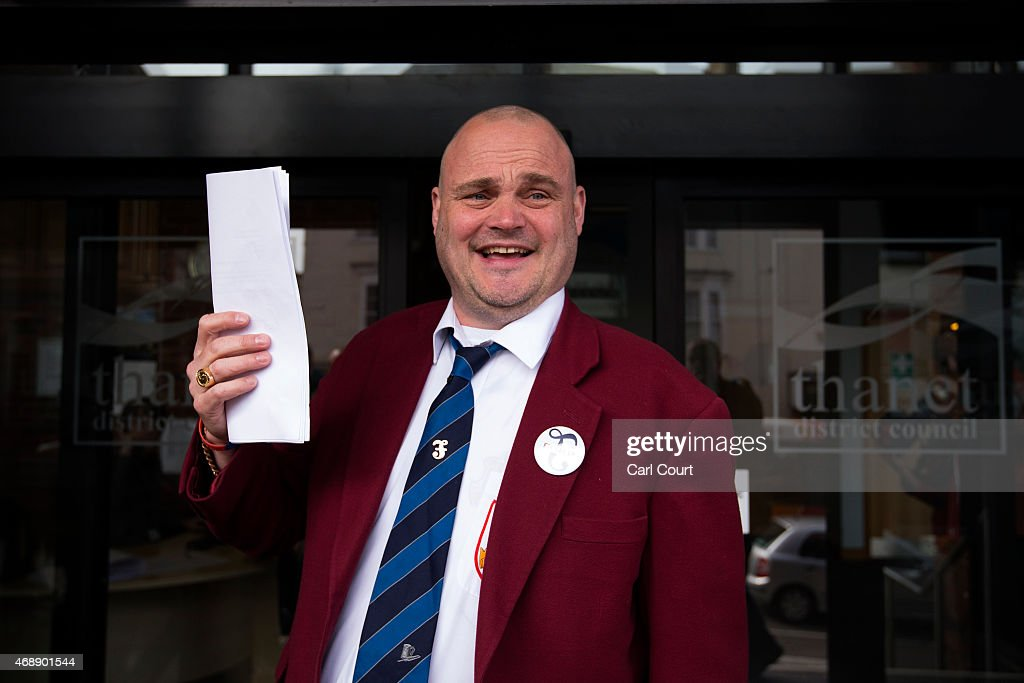 Alastair James Hay better known as comedian 'Al Murray' who portrays an English pub landlord arrives to hand in his nomination papers at Thanet...