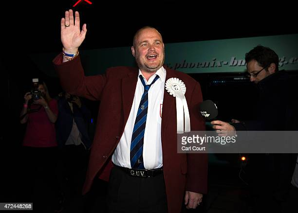 Alastair James Hay better known as comedian 'Al Murray' who portrays an English pub landlord arrives to attend the ballot count in the South Thanet...