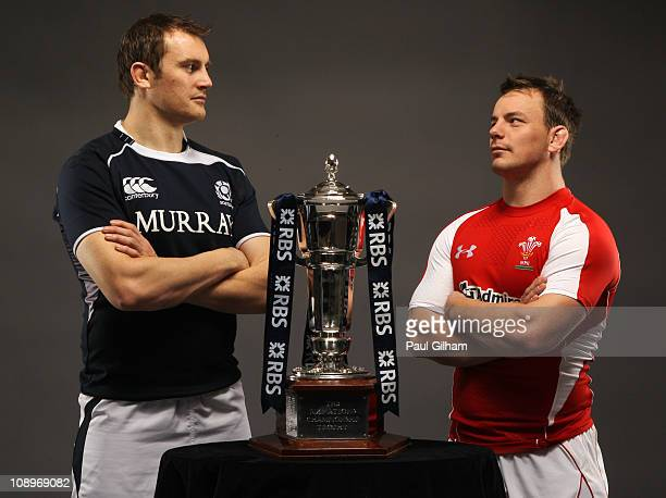 Alastair Kellock of Scotland and Matthew Rees of Wales pose with the trophy prior to their RBS Six Nations match January 26 2011in London England...
