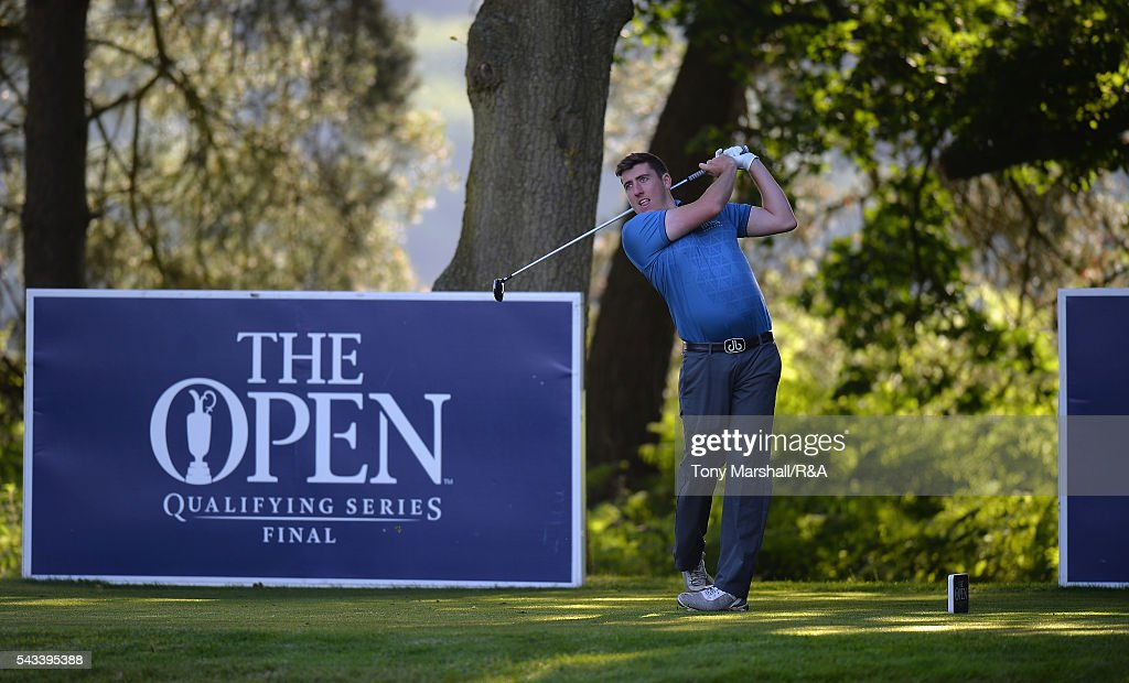 Alastair Kinnaird of Kirby Muxloe plays his first shot on the 10th tee during the Open Championship Qualifying - Woburn at Woburn Golf Club on June 28, 2016 in Woburn, England.