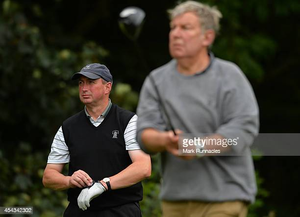 Alastair McLean of Duddingston Golf Club with playing partner Bill Lothian on the 13th tee during the Golfplan Insurance PGA ProCaptain Challenge...