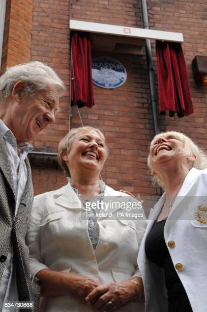 Alastair Sim's daughter Merlith McKendrick with Sir Ian McKellen and Barbara Windsor in Frognal Gardens north London after the unveiling of an...