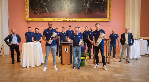 DEU: Basketball Champions 2020 Alba Berlin signing book of Berlin at Rotes Rathaus Berlin