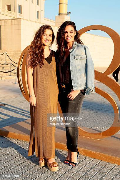 Alba Diaz and Vicky Martin Berrocal attend the Mango fashion show at 'Barcelona 080 Fashion AutumnWinter 20152016' at the Olympic Stadium of...