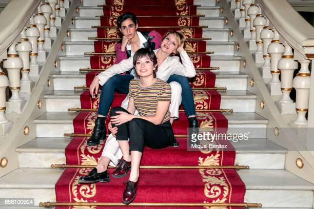 Alba Flores Anna Castillo and Najwa Nimri pose during a presentation for her latest theater production 'Drac Pack' at the Theater Tivoli on April 13...