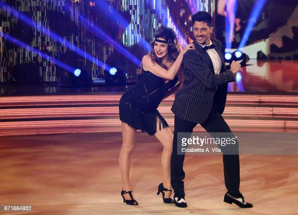 Alba Parietti and her dance partner Marcello Nuzio attend the Italian TV show 'Ballando Con Le Stelle' at Auditorium Rai on April 22 2017 in Rome...