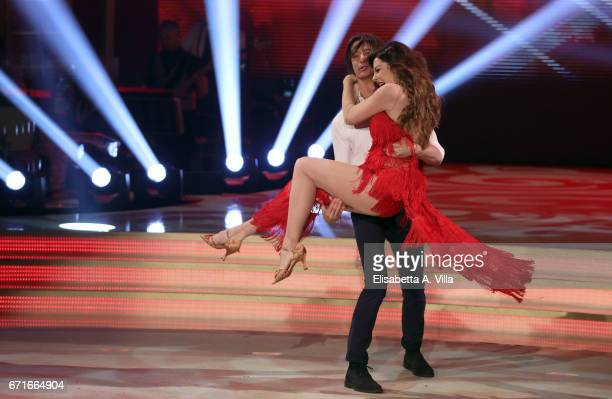 Alba Parietti and her son Francesco Oppini perform on the Italian TV show 'Ballando Con Le Stelle' at Auditorium Rai on April 22 2017 in Rome Italy