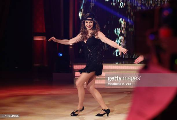Alba Parietti performs on the Italian TV show 'Ballando Con Le Stelle' at Auditorium Rai on April 22 2017 in Rome Italy
