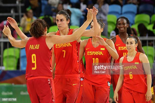 Alba Torrens of Spain and Laia Palau celebrate following their 8968 win over China in the Women's Basketball Preliminary Round Group B match between...