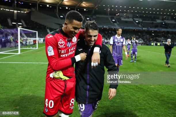 Alban Lafont and Andy Delort of Toulouse celebrate at the end of the match during the Ligue 1 match between Toulouse Fc and Sc Bastia at Stadium...