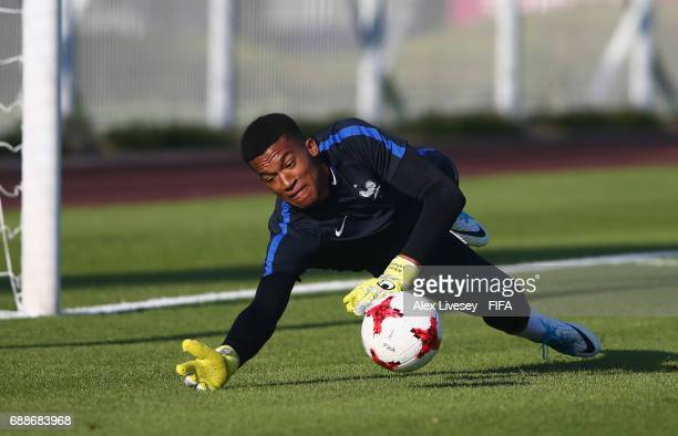 Alban Lafont of France makes a save during a training session at the Daejeon World Cup Stadium training pitch during the FIFA U20 World Cup on May 26...