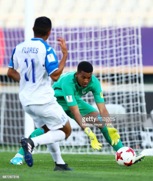 Alban Lafont of France saves a shot from Mario Flores of Honduras during the FIFA U20 World Cup Korea Republic 2017 group E match between France and...