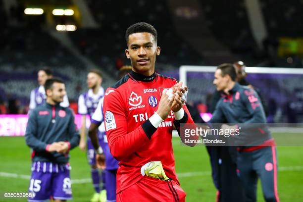 Alban Lafont of Toulouse celebrates at the end of the match during the Ligue 1 match between Toulouse Fc and Sc Bastia at Stadium Municipal on...