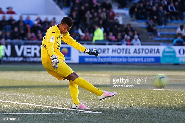 Alban Lafont of Toulouse during the French Ligue 1 between Lorient and Toulouse at Stade du Moustoir on April 16 2016 in Lorient France