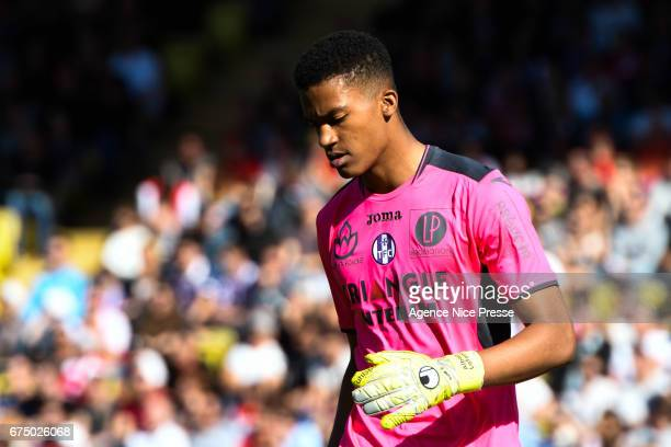 Alban Lafont of Toulouse during the French Ligue 1 match between Monaco and Toulouse at Louis II Stadium on April 29 2017 in Monaco Monaco