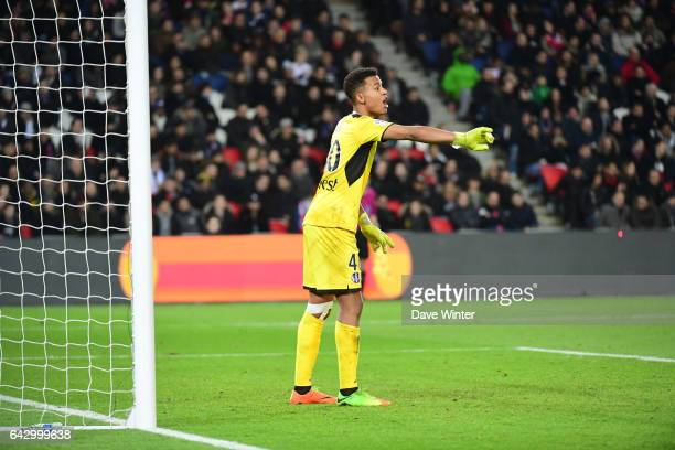 Alban Lafont of Toulouse during the French Ligue 1 match between Paris Saint Germain and Toulouse at Parc des Princes on February 19 2017 in Paris...