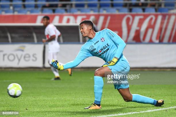 Alban Lafont of Toulouse during the Ligue 1 match between ESTAC Troyes and FC Toulouse at Stade de l'Aube on September 9 2017 in Troyes
